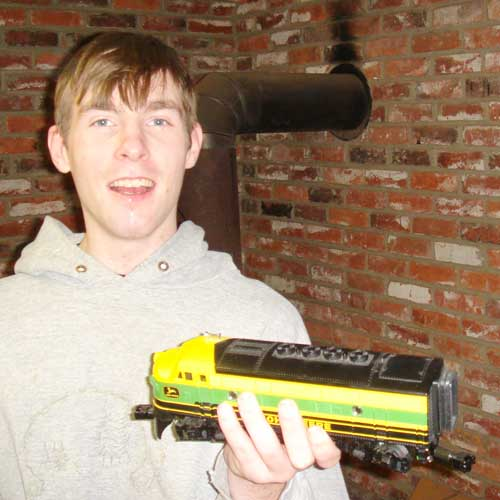 Ryan with an engine from his John Deere livery