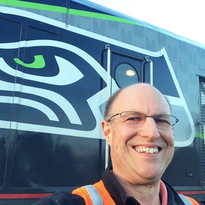 Larry With Amtrak Cascades Seahawks CAB
