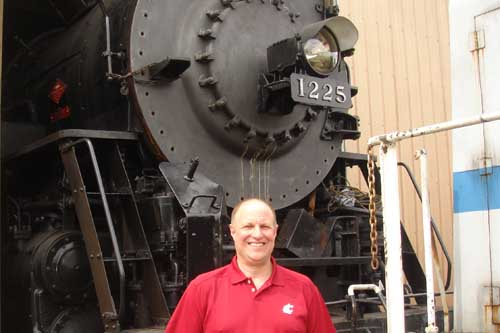 Larry with the 1225 Pere Marquette at Owosso